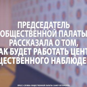 Председатель Общественной палаты Петербурга рассказала о том, как будет работать Центр общественного наблюдения